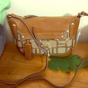 Nine West tan & gold crossbody bag purse